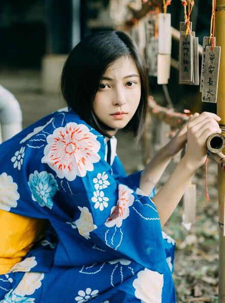 清纯短发美女日系和服写真