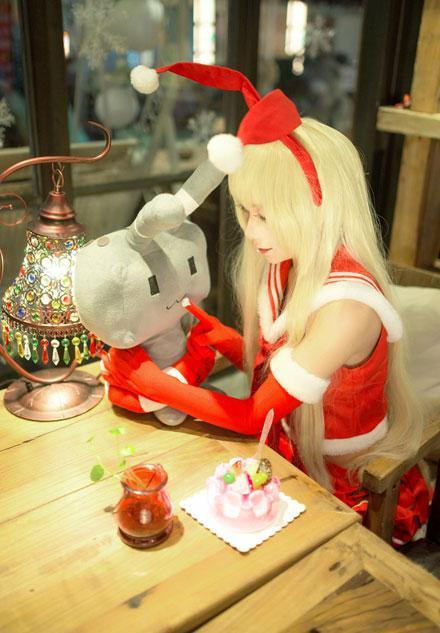 osk39小甜舰娘岛风圣诞甜美cos